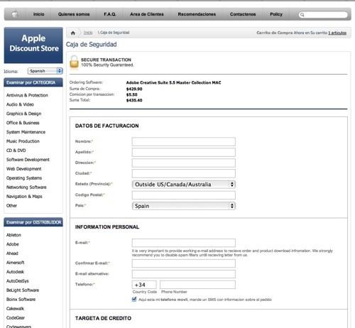 Apple pagina web falsa facturacion