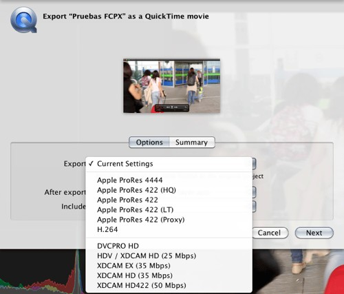 Final cut pro x opciones Exportacion Estandar