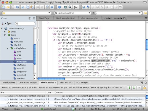 Komodo IDE Mac OS X Intel screenshot