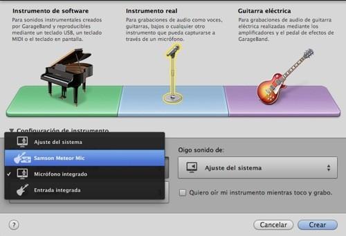 Seleccion Meteor Micro instrumento garageband