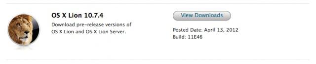 Apple comienza a distribuir la tercera beta de Mac OS X 10.7.4 Lion entre los desarrolladores