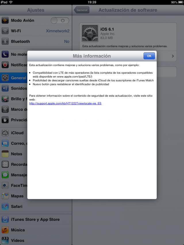 Apple publica iOS 6.1