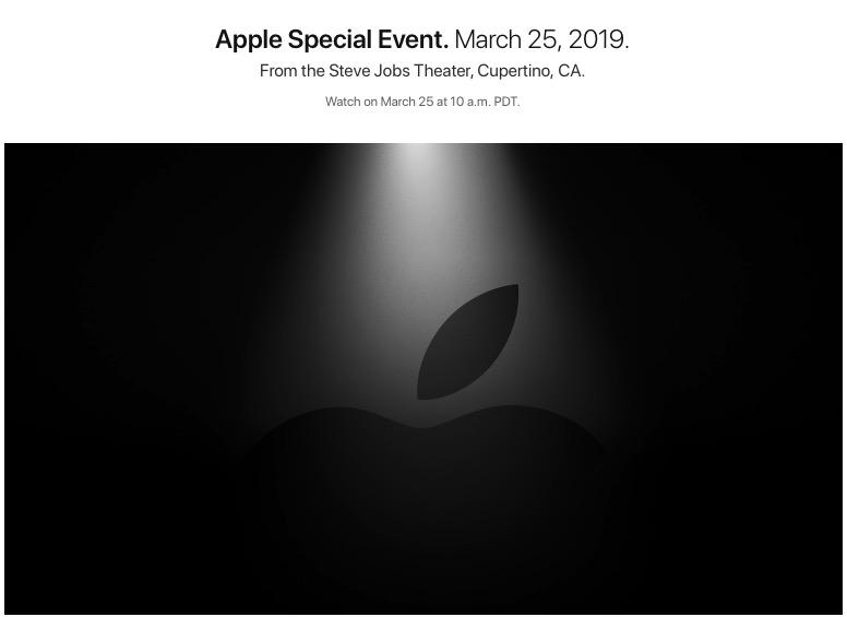 Evento especial Apple el 25 de Marzo de 2019