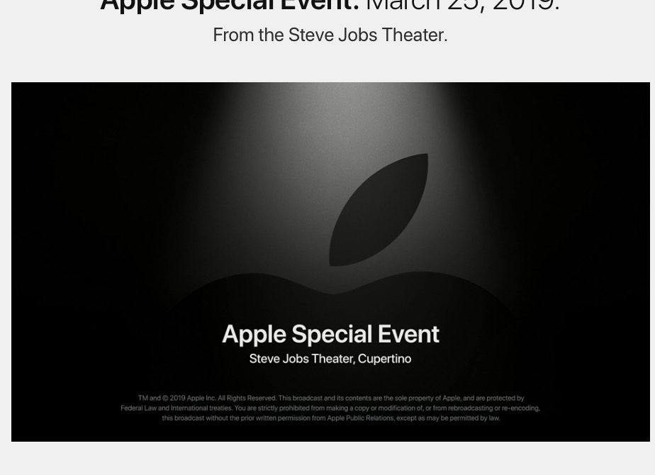 Evento especial Apple 2019-03-25 It's showtime