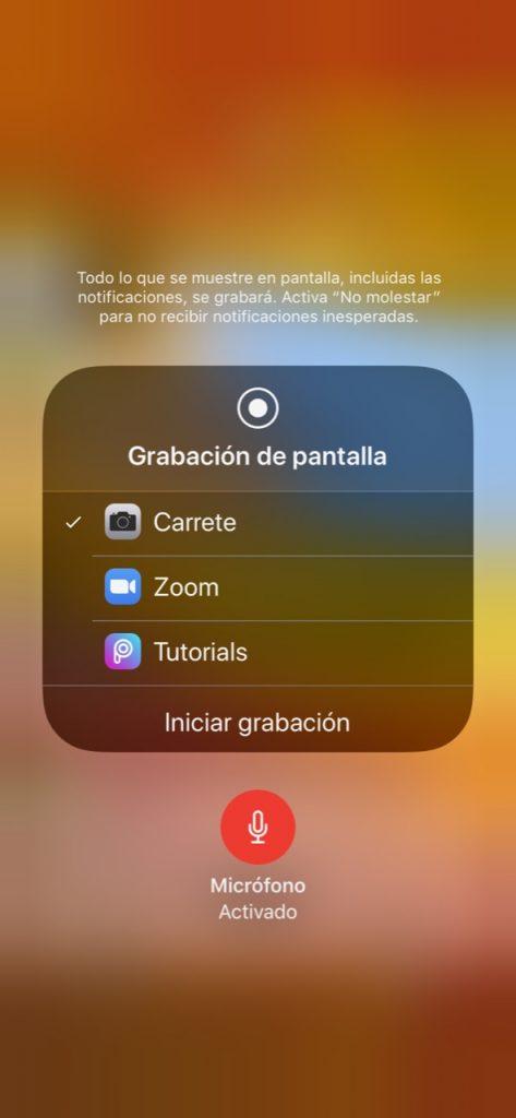 Grabacion de pantalla micro activado