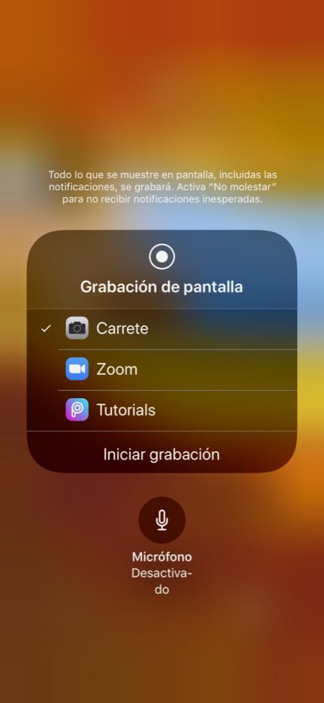Grabacion de pantalla micro desactivado