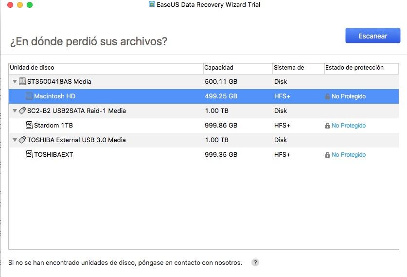 Recuperar archivos de mi Mac discos duros montados