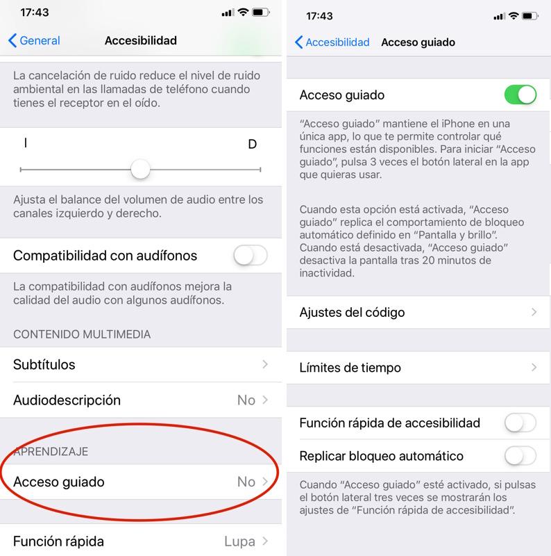Activar el acceso guiado en iPhone o iPad