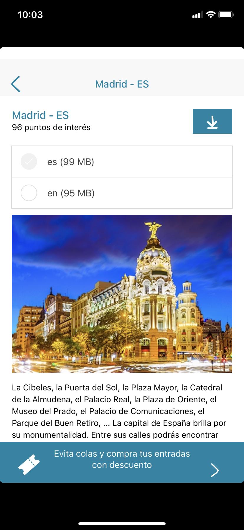 Archivos de cada ciudad en español e inglés