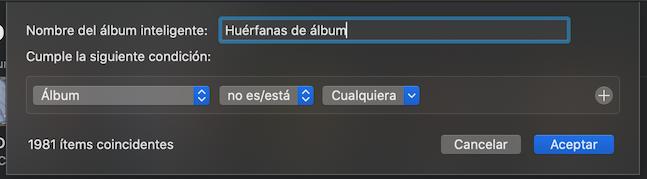 Captura de pantalla sobra configuración de album inteligente para fotos sin album